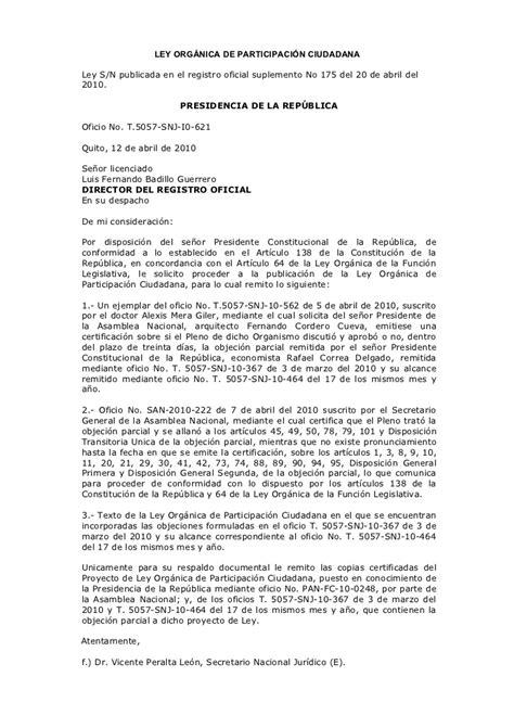 ley orgnica del sufragio y participacin poltica ley organica de participacion ciudadana