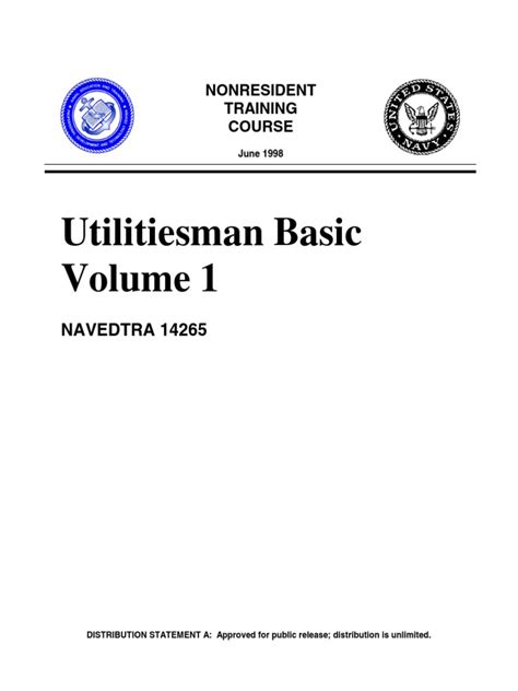 Clss Basic Tb 2b us navy course utilitiesman basic volume 1 navedtra 14265 docshare tips