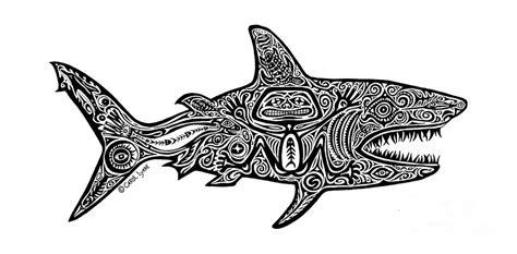 Hawaiian Shower Curtains Tribal Shark Drawing By Carol Lynne