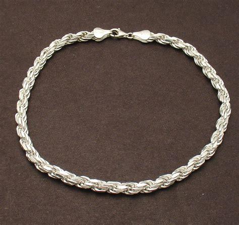 925 Sterling Silver Anklet 10 quot 4mm bold cut rope anklet ankle bracelet solid