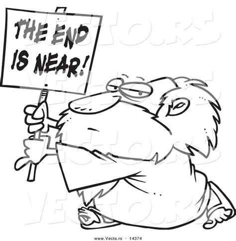 End Of Outline by Vector Of A Holding A The End Is Near Sign Coloring Page Outline By Leishman