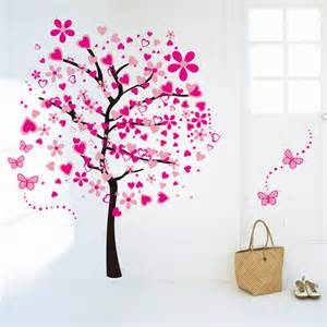 large pink peach tree butterfly wall stickers removable personalised butterfly wall stickers by parkins interiors
