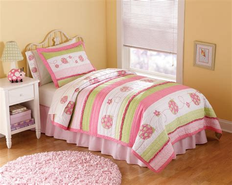 Lady Bug Pink Bedding Quilt Set In Full And Twin With Shams