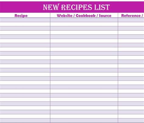 recipe list template new recipes list
