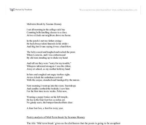 Seamus Heaney Essays by Seamanxoxw Analysis Of Mid Term By Seamus Heaney