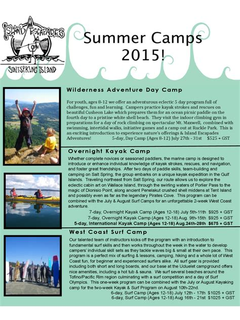 summer camp brochure template   templates   word excel