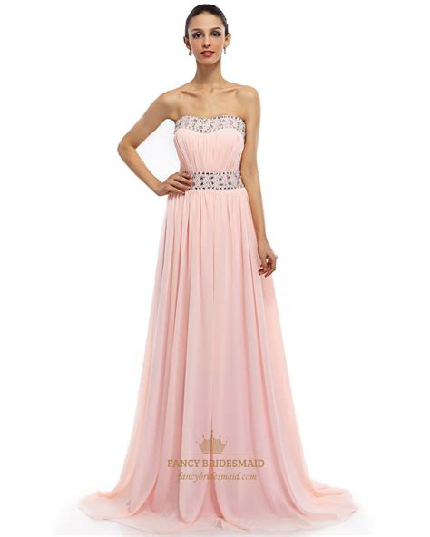 light pink strapless dress light pink chiffon strapless prom dress with ruched bust