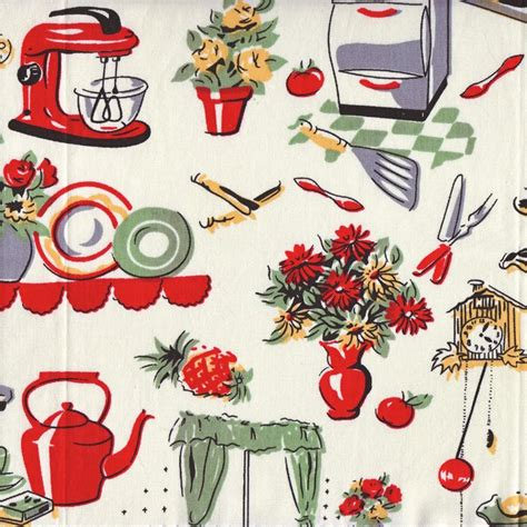 Retro Kitchen Fabric by Vintage Kitchen Fabric 1 C 1950 Fabric
