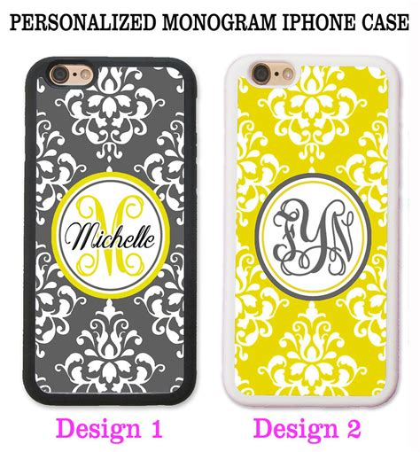personalized grey yellow damask monogram case cover