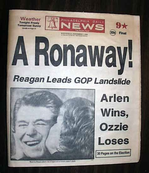 Ronald Reagan Wins Election In  R Newspapers M