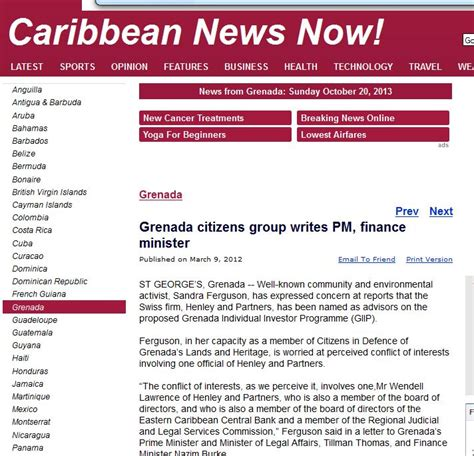 sle of news report news report from grenada about henley partners conflict