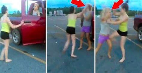 girl fight wardrobe malfunction southern girls cat fight in walmart parking lot bully