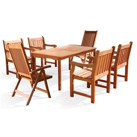 7 piece wood patio dining set v98set7