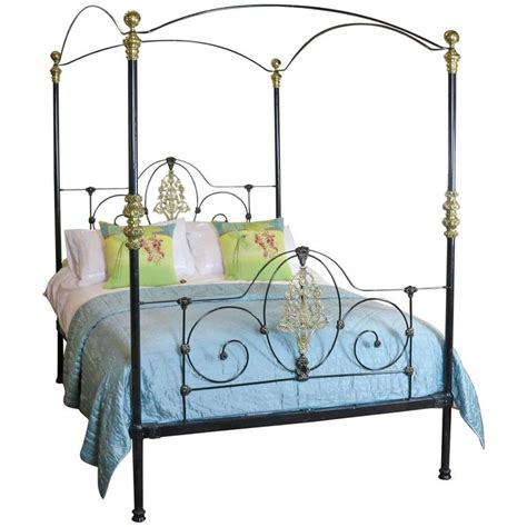 Iron Four Poster Bed | cast iron four poster bed with sunflower design m4p18 at