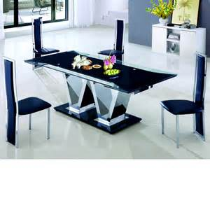 nico extending glass dining table and 6 leather dining