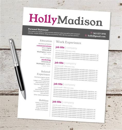 Instant Download Resume Design Template Microsoft Word Editable Pink Black Gray Resume Pink Resume Template Free