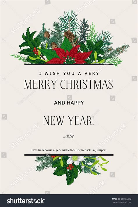 vintage vector card      merry christmas  happy  year design element
