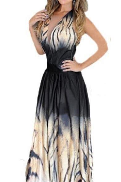 Printed Maxi A Line Dress color block printed halter sleeveless maxi a line