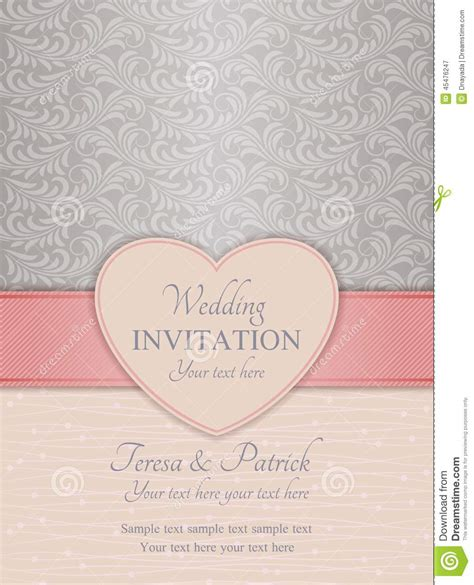 pink and silver wedding invitations modern wedding invitation pink and silver stock vector image 45476247