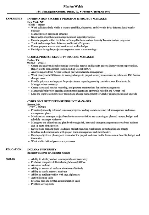 security manager resume format project security manager resume sles velvet