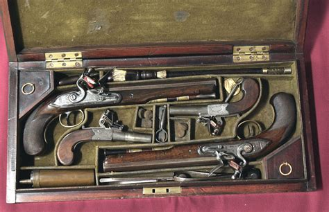 cased pair of flintlock dueling pistols amp seconds