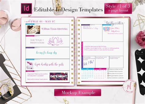 weekly calendar indesign template stationery templates creative market