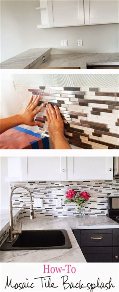 diy glass mosaic tile backsplash white and mix
