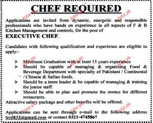 Duties Of A Executive Chef by Executive Chef Opportunity 2017 Pakistan Jobz Pk