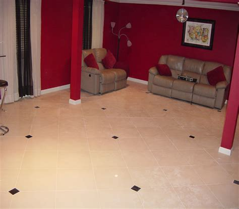 ceramic tile on basement floor custom basement floor installation travertine installers