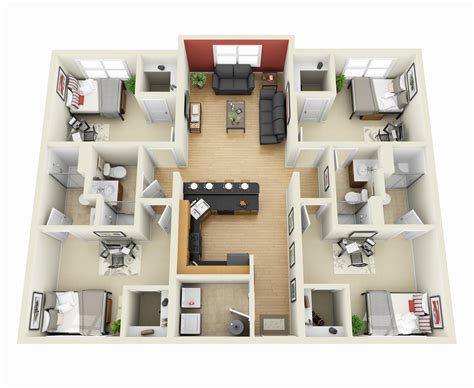 turn floor plan into 3d model 4 bedroom apartment house plans