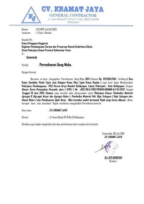 Contoh Surat Pengajuan Barang by Surat Permohonan Uang Muka