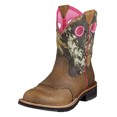ariat womens fatbaby camoflauge cowboy western pink