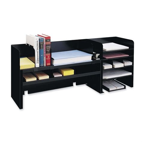 Office Desk Shelf Organizer Mmf Raised Shelf Design Desk Organizer 1 Each Black