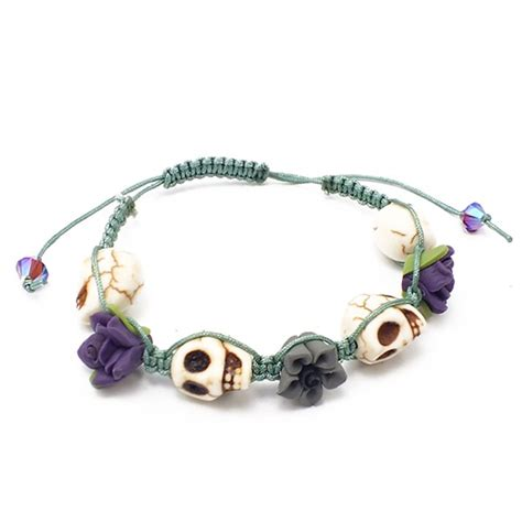 floral skull shamballa style bracelet kit teal the