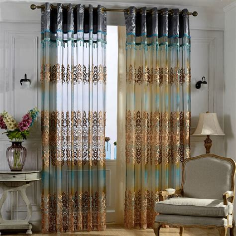 luxury blue and coffee gauze sheer curtain for living room
