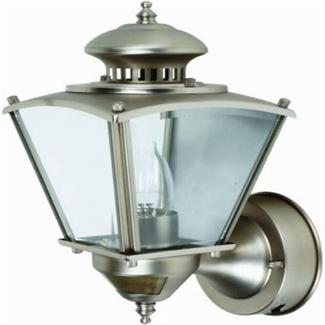 Outdoor Motion Sensor Coach Lights Cci 16 In Pewter Motion Activated Outdoor Beveled Glass Coach Lantern L2552pw The Home Depot