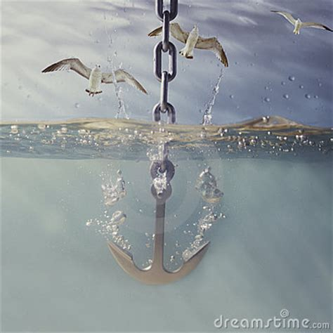 boat anchor drop anchor dropping into water royalty free stock photography