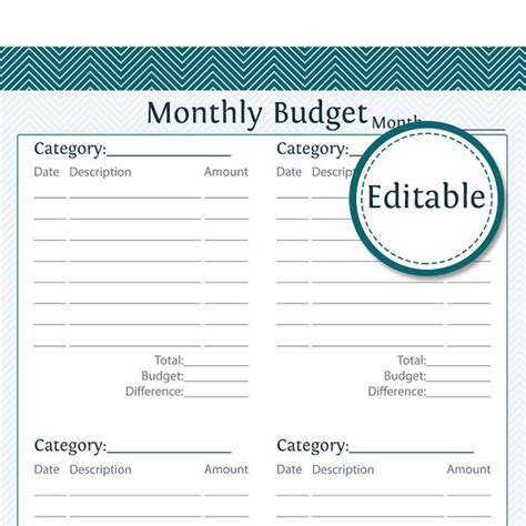 monthly budget fillable instant printable pdf