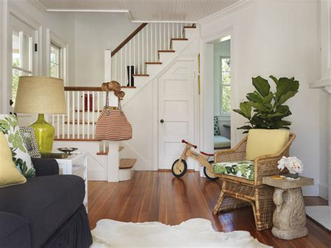 eclectic living room by two story cottage houzz tour beach cottage chic in rhode island