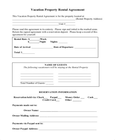 vacation rental agreement sle home rental agreement form 10 free documents in