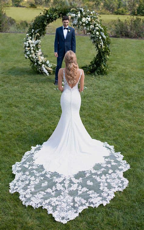 botanical lace wedding dress  shaped train martina liana