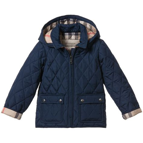 Boys Quilted Coat by Burberry Boys Navy Blue Lightweight Quilted Jacket