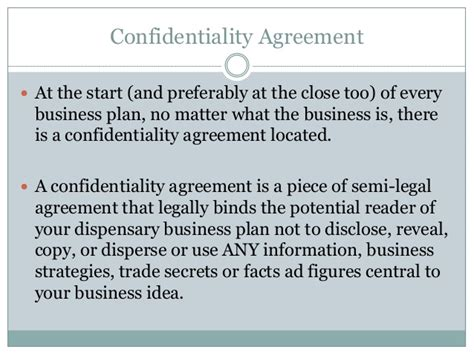 Confidentiality Business Plan Free Dispensary Business Plan Template