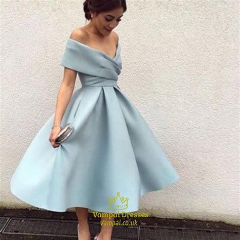 light blue tea length dress light blue off the shoulder v neck a line tea length