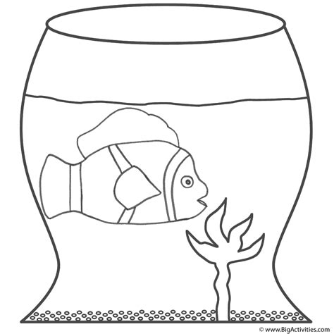 Clown Fish In A Fish Bowl Coloring Page Fish Clown Fish Coloring Page