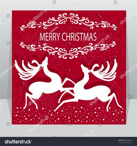 christmas cards shutterstock beautiful card reindeer decorations stock vector 333085427