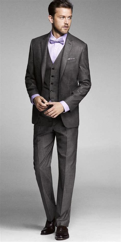 grey suit classic 3 suit with bow tie he might