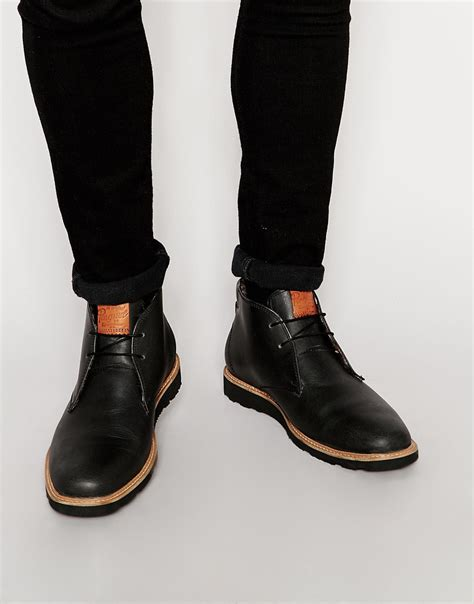 original penguin leather desert boots in black for lyst