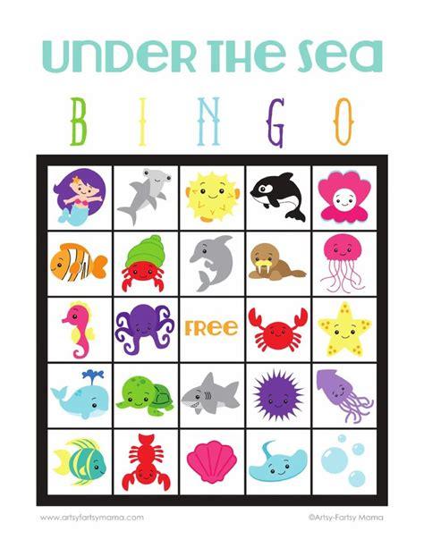 printable ocean games under the sea bingo scribd literacy nights pinterest