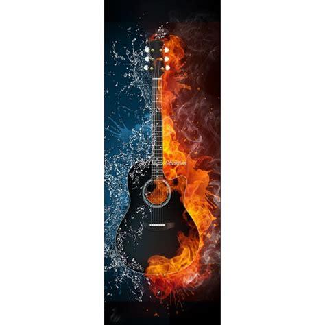affiche poster pour porte trompe l oeil guitare d 233 co